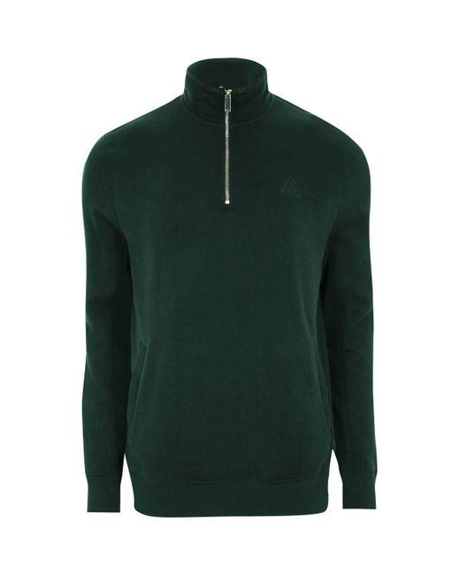 River Island - Green Zip-up Funnel Neck Sweatshirt for Men - Lyst