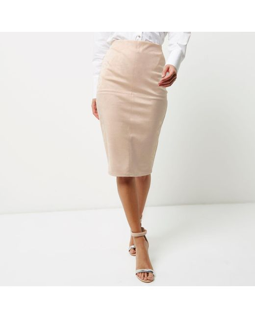 River island Light Pink Faux Suede Midi Pencil Skirt in Pink | Lyst