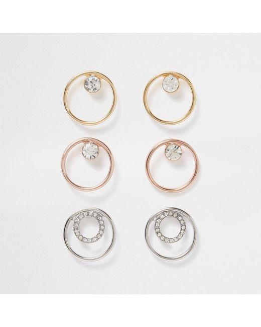 River Island | White Metal Diamante Circle Earring Pack | Lyst