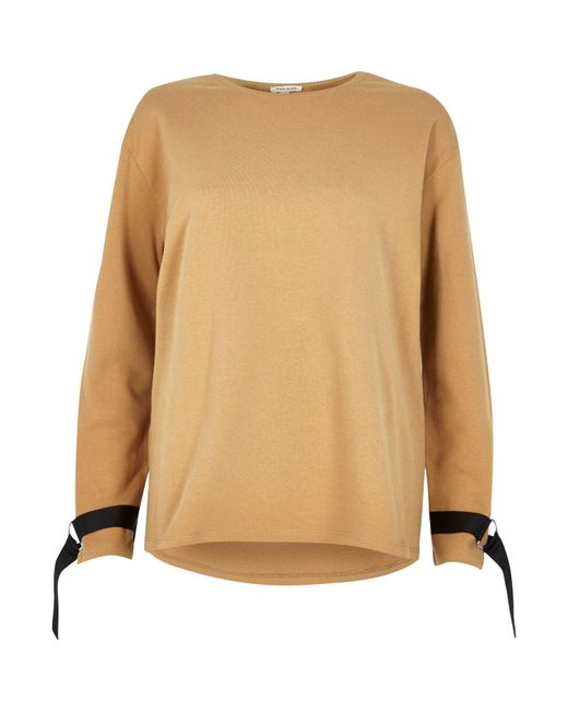 River Island   Light Brown Ring Detail Long Sleeve Sweater   Lyst
