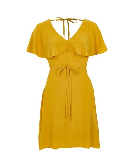 River Island | Dark Yellow Cape Tea Dress | Lyst