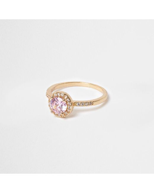 River Island | Metallic Gold Tone Pink Jewel Ring | Lyst