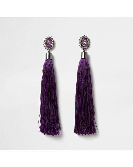 River Island | Purple Rhinestone Tassel Drop Earrings | Lyst