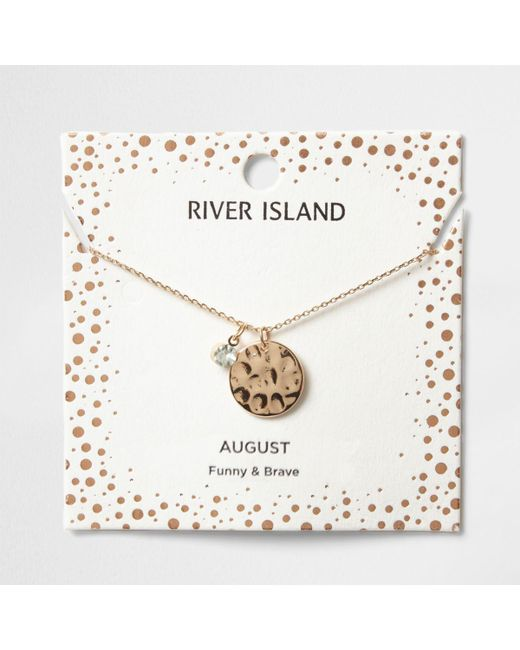 River Island | Light Green Gem August Birthstone Necklace | Lyst