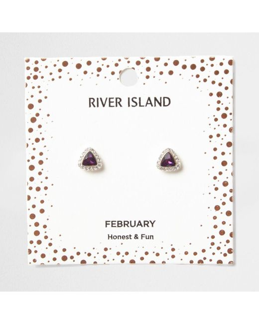 River Island   Purple Gem February Birthstone Stud Earrings   Lyst