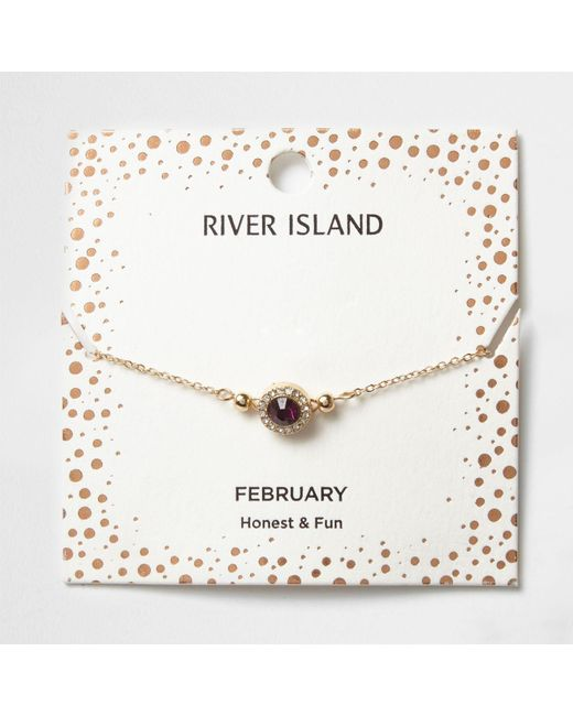 River Island | Purple Gem February Birthstone Bracelet | Lyst