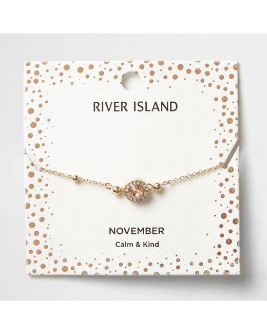 River Island | Orange Gem November Birthstone Bracelet | Lyst