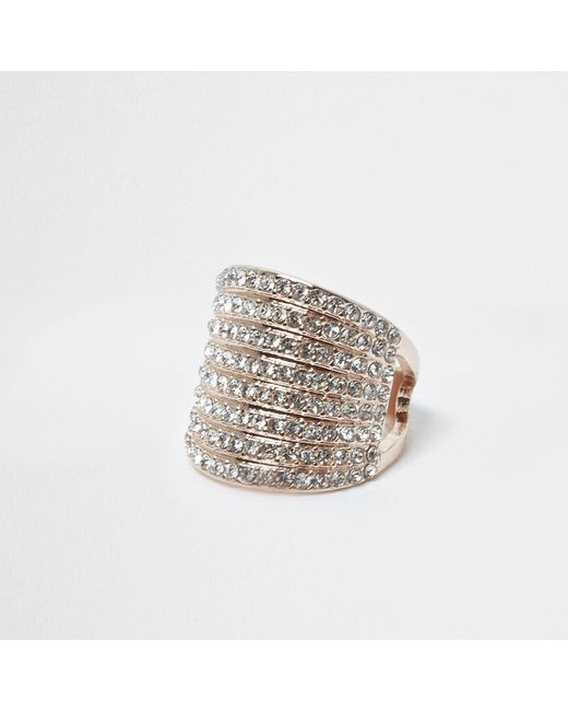 River Island   Metallic Rose Gold Tone Stacked Chunky Diamante Ring   Lyst