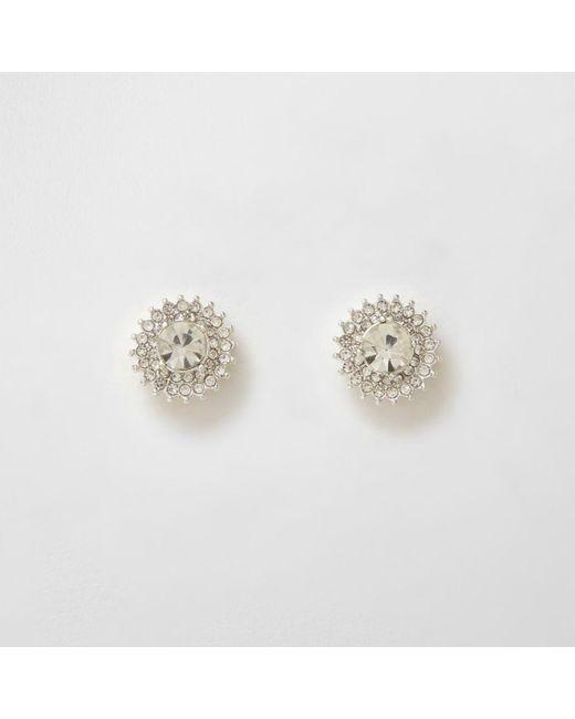River Island | Metallic Silver Tone Rhinestone Starburst Stud Earrings | Lyst