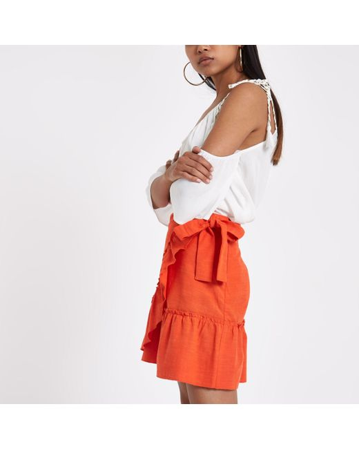 River Island - Petite Orange Frill Wrap Mini Skirt - Lyst