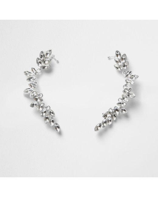 River Island | Metallic Silver Tone Leaf Jewel Embellished Ear Cuffs | Lyst