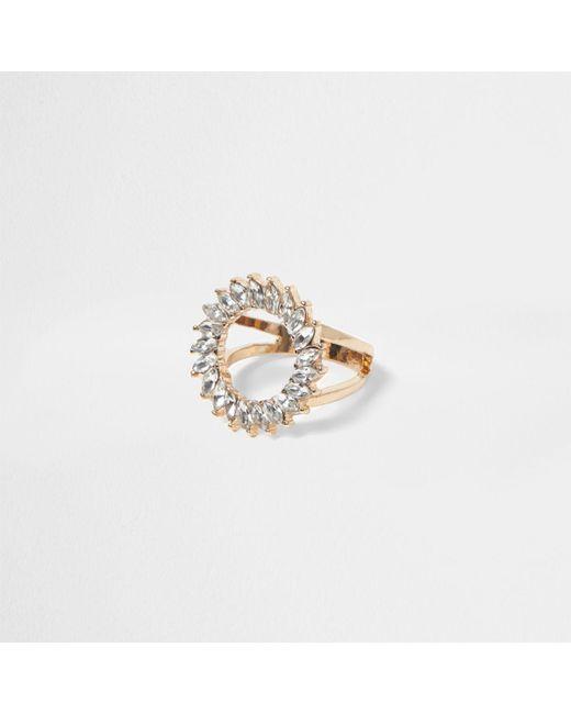 River Island   Metallic Gold Tone Diamante Circle Ring   Lyst
