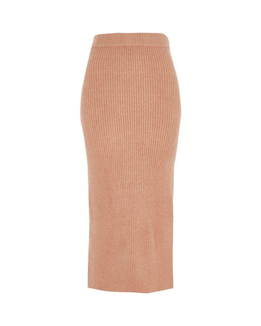 River Island | Pink Rib Knit Side Split Midi Skirt | Lyst
