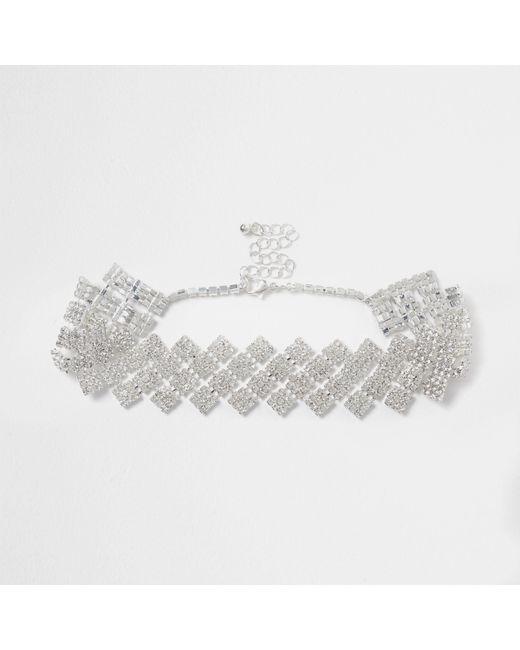 River Island - Metallic Silver Tone Diamond Diamante Choker - Lyst