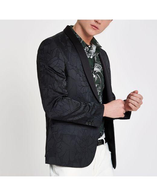 River Island - Black Textured Floral Skinny Fit Blazer for Men - Lyst