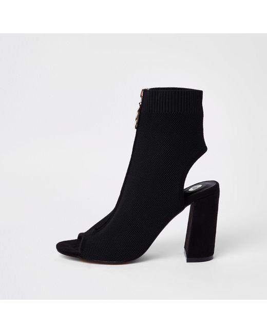River Island - Black Knit Zip Front Shoe Boots - Lyst