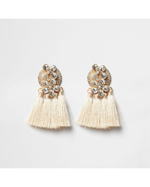 River Island - Natural Cream Jewel Tassel Drop Earrings - Lyst