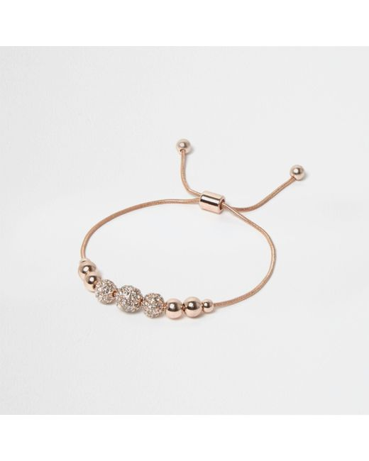 River Island - Metallic Rose Gold Tone Embellished Thread Bracelet - Lyst