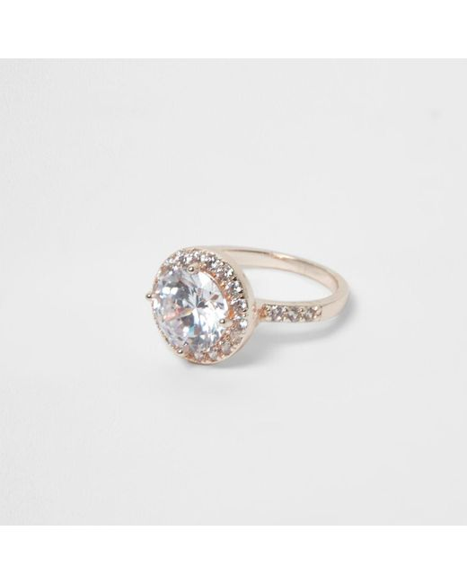 River Island | Metallic Rose Gold Tone Diamante Encrusted Ring | Lyst