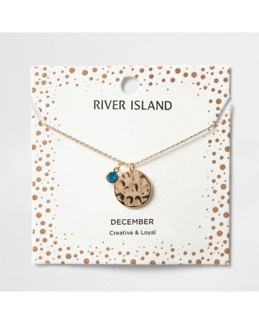 River Island | Blue Gem December Birthstone Necklace | Lyst
