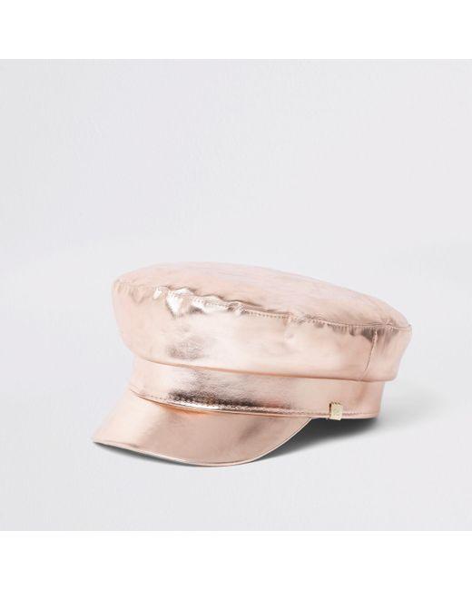 River Island - Pink Rose Gold Metallic Baker Hat - Lyst