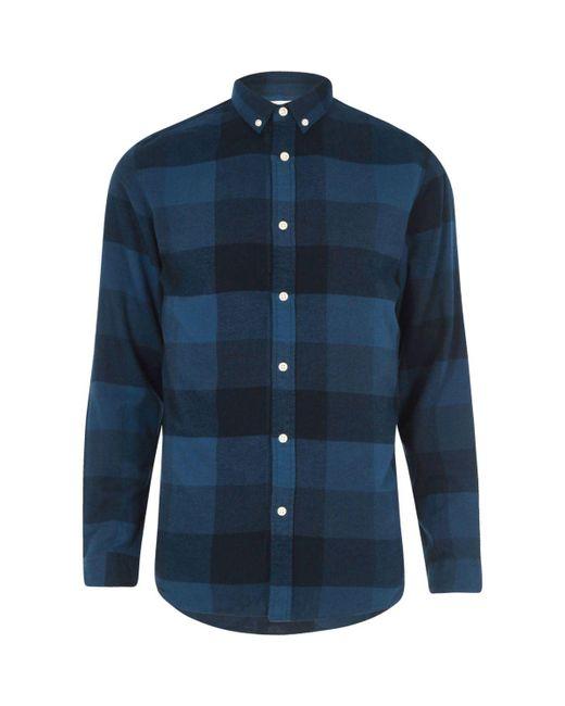 River Island | Dark Blue Jack & Jones Check Shirt for Men | Lyst