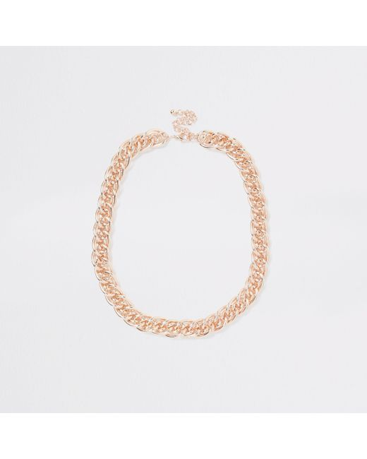 River Island - Multicolor Rose Gold Tone Multilink Necklace - Lyst