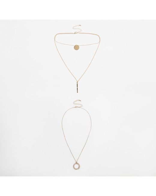 River Island - Metallic Tone Disk Pave Multilayer Necklace Set - Lyst