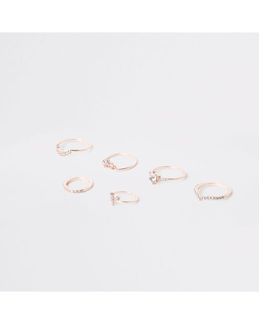 River Island - Metallic Rose Gold Tone Rhinestone Pave Ring Pack - Lyst