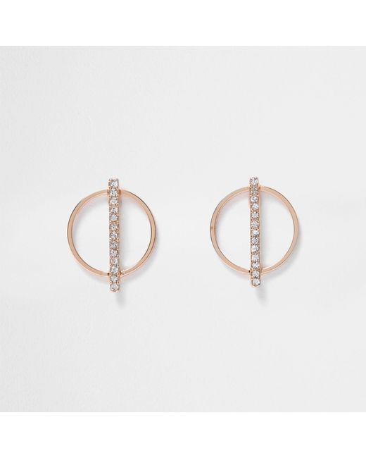 River Island - Multicolor Rose Gold Tone Circle Diamante Earrings - Lyst