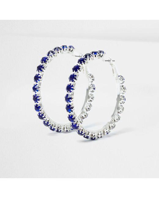 River Island | Metallic Silver Tone Sapphire Encrusted Hoop Earrings Silver Tone Sapphire Encrusted Hoop Earrings | Lyst
