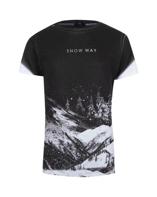 River island black 39 snow way 39 fade print slim fit t shirt for Vista print tee shirt