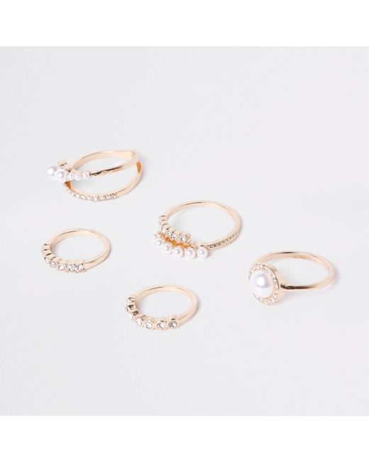 River Island - Metallic Gold Tone Pearl Ring Pack - Lyst