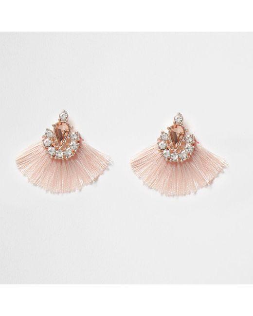 River Island | Pink Jewel Tassel Fan Stud Earrings Pink Jewel Tassel Fan Stud Earrings | Lyst