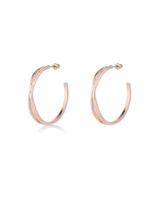 River Island | Pink Rose Gold Tone Twist Hoop Earrings | Lyst