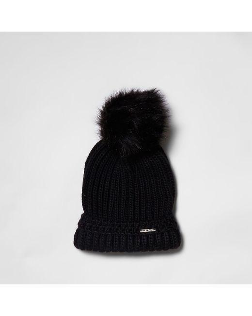 River Island - Black Pom Pom Beanie Hat - Lyst