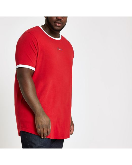 e72c83457675 River Island Big And Tall Red 'prolific' Curve T-shirt in Red for ...
