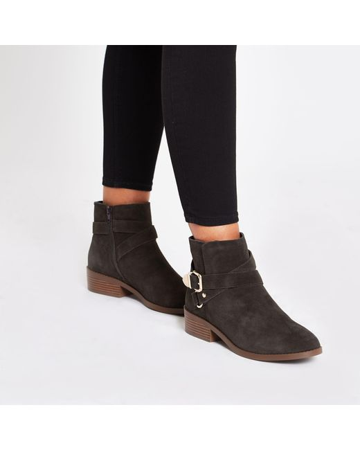 d402e5f4dd355 ... River Island - Gray Dark Suede Buckle Ankle Boots - Lyst
