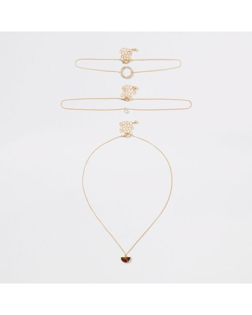 River Island - Metallic Gold Tone Pendant Necklace Multipack - Lyst