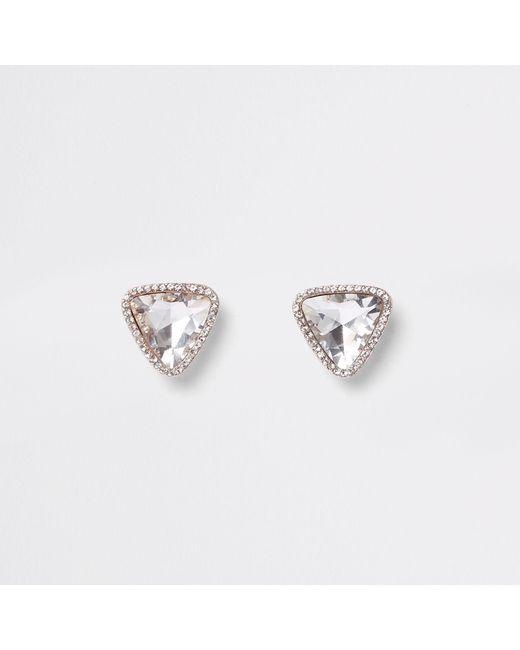 River Island - Metallic Rose Gold Tone Jewel Triangle Stud Earrings - Lyst