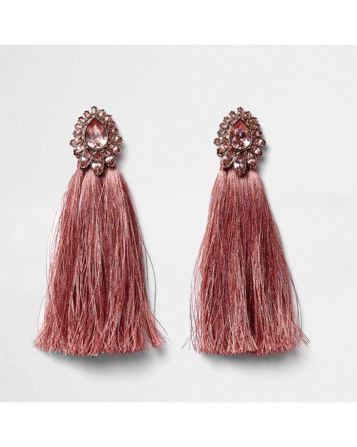 River island Pink Tear Drop Jewel Tassel Earrings Pink Tear Drop ...
