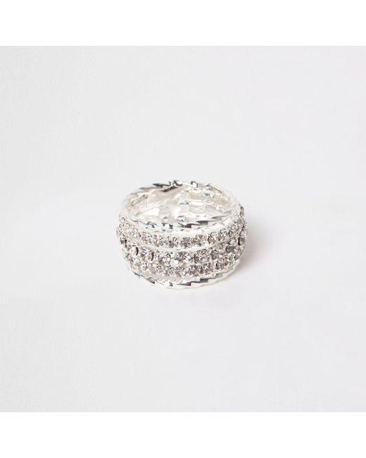 River Island - Metallic Silver Tone Rhinestone Encrusted Ring - Lyst