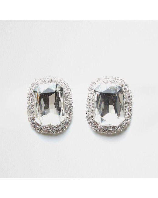 River Island | Metallic Silver Tone Jewel Stud Earrings | Lyst