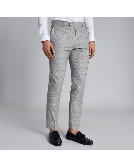 River Island - Gray Light Grey Check Skinny Fit Suit Trousers for Men - Lyst