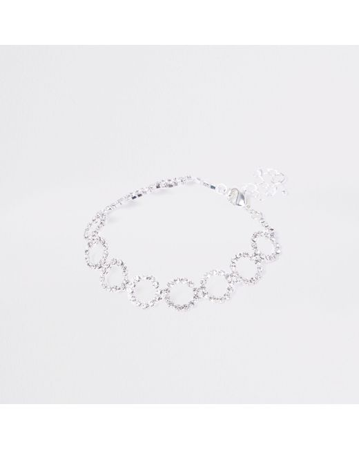 River Island - Metallic Silver Tone Diamante Circle Bracelet - Lyst