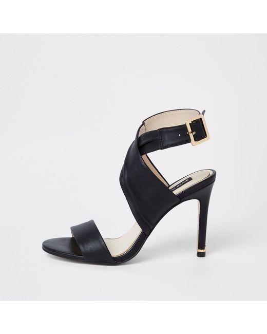 4be8d0d2c66 River Island Black Leather Wrap Skinny Heel Sandals in Black - Lyst