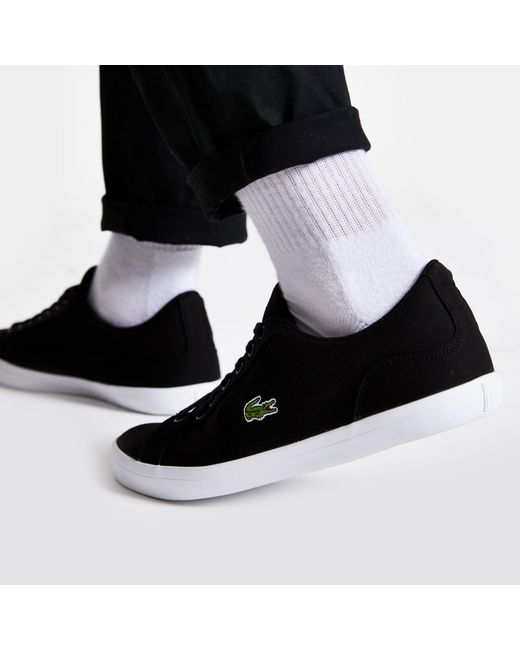 21738559d River Island Lacoste Black Lerond Canvas Sneakers in Black for Men ...