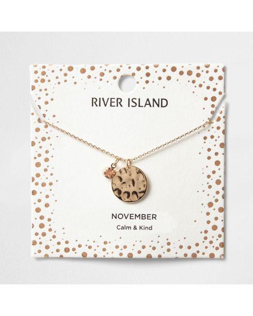 River Island   Orange Gem November Birthstone Necklace   Lyst