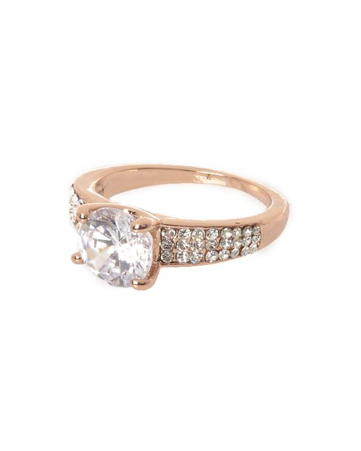River Island - Metallic Rose Gold Tone Encrusted Gem Ring - Lyst
