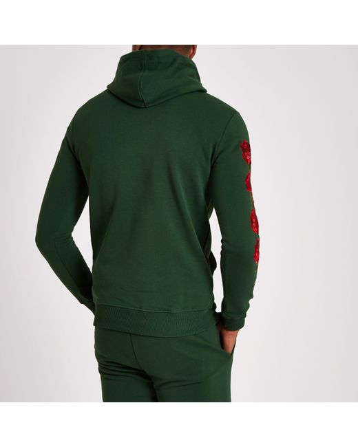 Outlet Reliable River Island Mens Criminal Damage Green rose embroidered hoodie Criminal Damage Clearance Official Cheap Sale How Much Clearance Footlocker Pictures Authentic Online wqZ0Yf
